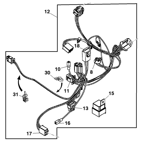 john deere front wiring harness gy21702. Black Bedroom Furniture Sets. Home Design Ideas