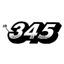 John Deere 345 Model Number Decal (2 required) - M135983