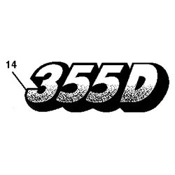 John Deere 355D Model Number Decal (2 required) - M129828