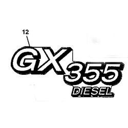 John Deere GX355 Model Number Decal (2 required) - M145999