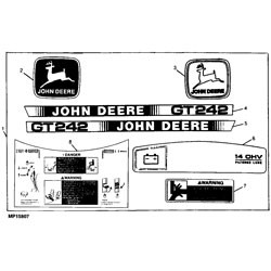 John Deere GT242 Garden Tractor Decal Kit - AM118184