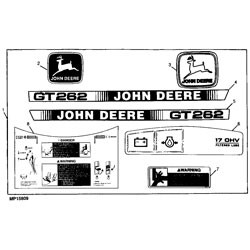 John Deere GT262 Garden Tractor Decal Kit - AM117528