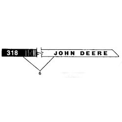John Deere Model 318 Right Hand Hood Stripe Decal - M85016