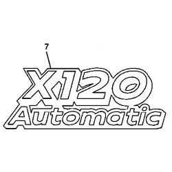 John Deere X120 Model Number Decal (2 required) - GX22540