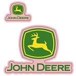 John Deere Pink Logo Decal Sticker Set - 008711