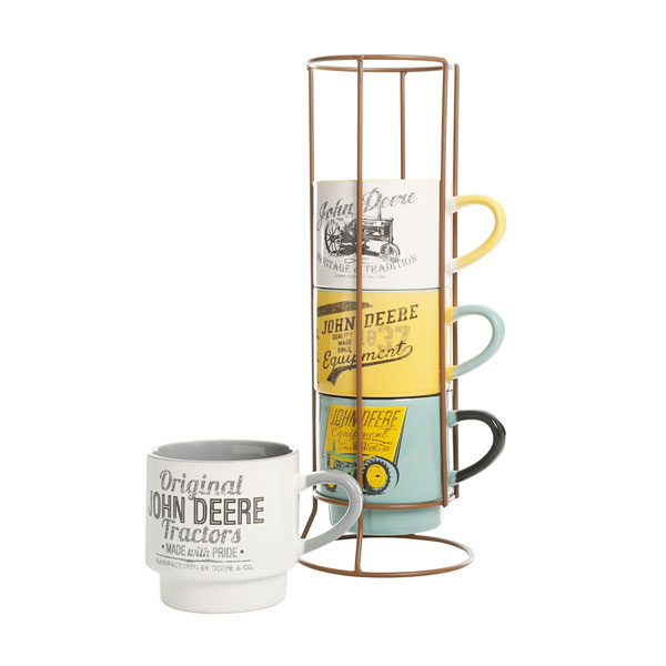 John Deere 4-Piece Stackable Coffee Cup Set with Rack - LP72989
