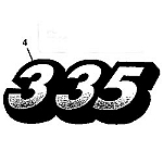 John Deere 335 Model Number Decal (2 required) - M134882