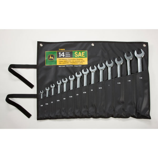 John Deere SAE 14-piece Full Polished Combination Wrench Set - TY19976