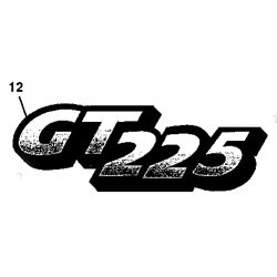 John Deere GT225 Model Number Decal (2 required) - M126055
