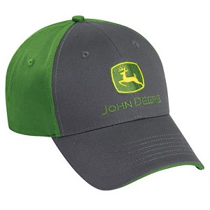 John Deere Green and Charcoal Cloth Cap - LP37823